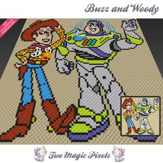 Buzz And Woody crochet blanket pattern; c2c, knitting, cross stitch graph; pdf download; no written counts or row-by-row instructions by TwoMagicPixels, $4.74 USD