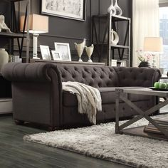 TRIBECCA HOME Knightsbridge Dark Grey Tufted Scroll Arm Chesterfield Sofa | Overstock™ Shopping  $1188.00 love this style mixed with something else