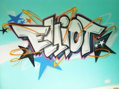 client private   children / teen / Kids Bedroom Graffiti mural - hand painted  Elliott turquoise #graffitibedroom