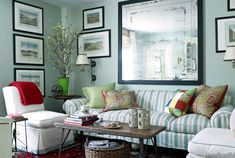 House of Turquoise: Gary McBournie Palladian blue paint Benj Moore Beautiful Living Rooms, Small Living Rooms, My Living Room, Home And Living, Living Spaces, House Beautiful, Family Rooms, Coastal Living, House Of Turquoise