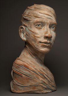 brown - head - man - Robin Power - figurative sculpture