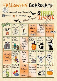 Have fun with this boardgame. Ss have to answer some easy questions. This activity can be used for a quick warming up, for revising the basic vocab. or just for fun. Halloween Board Game, Halloween Games, Holidays Halloween, Halloween Kids, Halloween Crafts, Halloween Worksheets, Halloween Activities For Kids, Holiday Activities, English Class