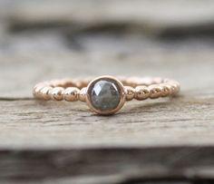 Slate Gray Rose Cut Diamond Beaded Ring in 14K Rose by Studio1040, $670.00