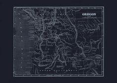 OREGON STATE MAP Blueprint Map of Oregon by EncorePrintSociety