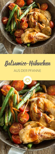 Balsamic chicken from the pan-Balsamico-Hähnchen aus der Pfanne Crispy beans, juicy tomatoes, tender chicken breast. And all from just one pan. A wonderfully simple after-work recipe. Pollo Keto, Clean Eating, Healthy Eating, Balsamic Chicken, Frijoles, Eat Smart, Grilling Recipes, Soul Food, Food Inspiration