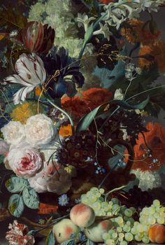 Jan van Huysum, Still Life with Flowers and Fruit (details), 1715 (via) chateau-de-luxe.tumblr.com