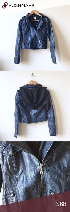 """Hooded faux leather moto jacket Size XS. NWOT. Super cool jacket. Nasty Gal RD Style brand. Side zip, fully lined, zipper at back for a gathered waist, cropped length. 17"""" pit-pit, 15"""" shoulder, 17"""" front collar to hem, 26"""" sleeves. Thought I lost this in the depth of my closet but no, I found it. Nasty Gal Jackets & Coats Blazers"""