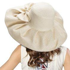 b01d85c707d Linen Summer Women s Kentucky Derby Wide Brim Sun Hat