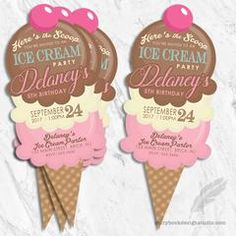 Ice Cream Birthday Party Invitations - Digital File You Print
