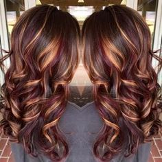 Brunette hair color with burnished blonde highlights Curly long brunette hair hotonbeauty.com by janice