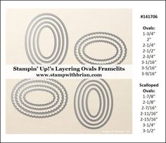 Measurements for Stampin' Up!'s Layering Ovals Framelits, Brian King