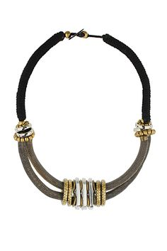 Cord and Tube Collar necklace from Top Shop. Black suede, worn gold wrap chain, and gold and silver metal work. Timeless Beauty, Collar Necklace, Everyday Fashion, Metal Working, Black Suede, What To Wear, Cord, Jewelery, Tube