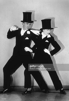 American brother and sister dance partners Adele (1898 - 1981) and Fred Astaire (1899 - 1987) perform together in top hats and tuxedos in the musical 'The Band Wagon', which was their last production together.