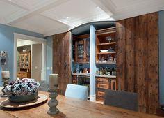 Built-in Storage Ideas. Wow! The vintage doors in this built-in/bar are gorgeous! #Builtin #Storage #Bar #HomeDecor.