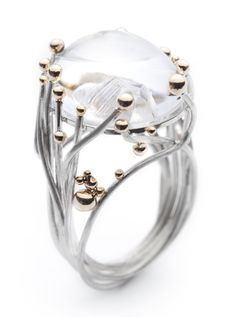 Annegret Morf of Serafino Joailliers Contemporains, 14 Paths Crossing, 2012, ring, sterling silver, 14-karat gold, quartz cabochon, 37.75 x 19 mm, photo: Anthony McLean