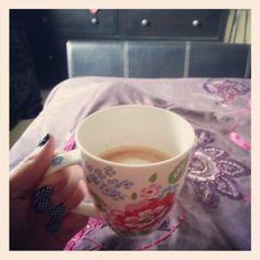 Hot chocolate in Cath Kidston mug.