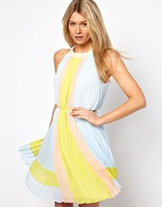 Ted Baker Pleated Dress in Icecream Colourblock. Pretty pastels.