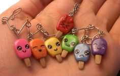 Kawaii Popsicle charm bracelet and Melty Popsicle necklace charm. Made with Sculpy clay. SOLD (but I can, and will, make more by request. Kawaii Faces, Clay Charms, Popsicles, Charmed, Drop Earrings, Bracelets, Necklace Charm, Biscuit, Jewelry