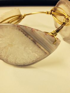 Handcrafted bangle with natural stones.    Each bangle is unique and beautifully crafted. on Etsy, $19.00