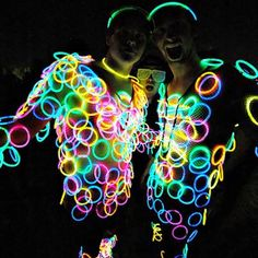 Glow Bracelets ALL over! Looks like neon polka dots. Great last-minute Burning Man costume + pretty inexpensive