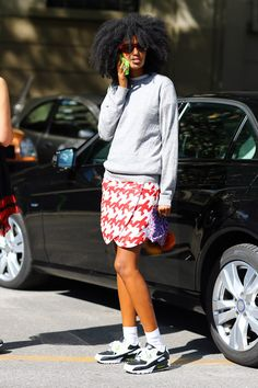 JULIA SARR JAMOIS, BALENCIAGA HOUNDSTOOTH. Telling her friends she's cool.