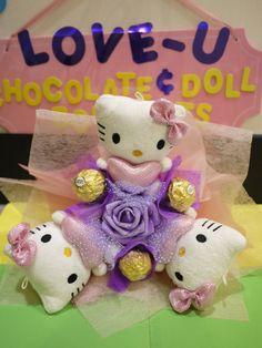 Hello Kitty plush doll flower bouquet with Ferrero Rocher Chocolates. Pretty birthday gift
