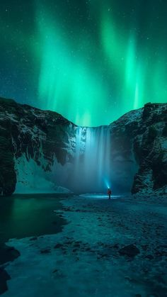 Iceland Waterfall Aurora in Sky iPhone Wallpaper - iPhone Wallpapers
