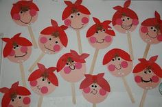 These are on tongue depressors to go along with reading Mrs. Wishy Washy.