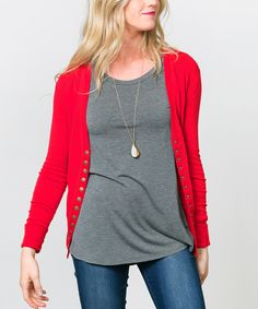 Sawyer Cove Red Snap-Button Cardigan - Women by Sawyer Cove #zulily #zulilyfinds