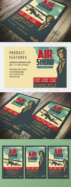 Vintage Airshow Party Poster Template PSD