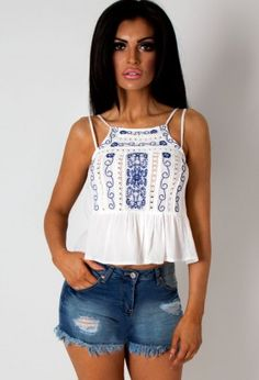 Chanille White and Navy Embroidered Cami Top