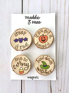 Halloween Magnet Set, Halloween Decoration, Magnets, Wood Burned, Hand Painted, Halloween Party, Fal