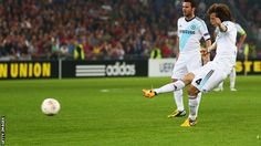 ~ David Luiz of Chelsea FC with a freekick against FC Basel in the Europa League ~