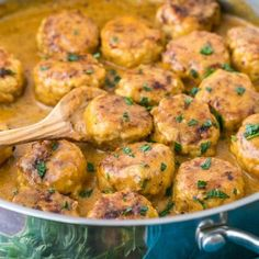 Chicken Meatballs in a Cream Sauce. Chicken Meatballs in a Cream Sauce- Now imagine a few of these over a hefty bowl of buttered egg noodles or atop mashed potatoes. Ground Chicken Recipes, Turkey Recipes, Meat Recipes, Dinner Recipes, Cooking Recipes, Healthy Recipes, Recipe Chicken, Yummy Recipes, It Goes On