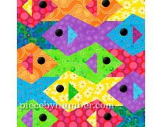 Tessellating Fish quilt pattern, paper pieced quilt patterns INSTANT DOWNLOAD PDF, tessellation quilt pattern, fish patterns animal patterns...