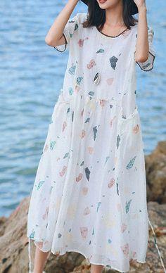 d8fa9c801d47 Beautiful white print silk linen dresses Women Online Shopping o neck  pockets robes Summer Dresses#