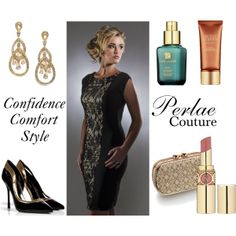 """Confidence, Comfort and Style with Perlae Couture"" by Perlae Couture.  Spring Style in a gorgeous little black dress! Get glamorous with golds and catch your summer glow the safe way with Estee Lauder's Bronze Goddess. Finish the look off by slipping into a pair of these Sergio Rossi Patent Leather D'orsay Pumps. Shop http://www.perlaecouture.com to get this stunning little black dress for your next event!  #LittleBlackDress #Lace #springfashion #Cocktail dress"