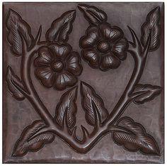 Copper Tile (TL406) Floral Vine Design