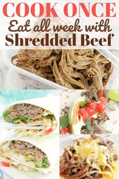 Make a big batch of shredded beef for meals throughout the week: open face BBQ beef sandwiches, Asian beef wraps, beef street tacos and more. Shredded Beef Recipes, Quick Beef Recipes, Roast Beef Recipes, Quick Dinner Recipes, Crockpot Recipes, Lamb Recipes, Family Recipes, Cooker Recipes, Paleo Recipes