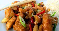 Kuře Kung Pao 宮保 1000 g kuřecích prsou bez kůže 120 g vyloupaných arašídů 6 polévkových lžic sezamového oleje 35 g čerstvého zá...