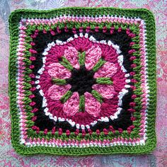 """Day 25 12"""" Block Pick of the Day - Tussy Mussy 12"""" Square by Rebecca Bisbing Free Pattern: www.ravelry.com/..."""