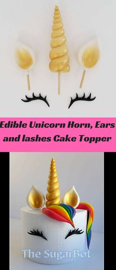 Edible Unicorn Horn, Ears and lashes, gold, silver, or any color | #unicorn party decor | Custom #partyswag