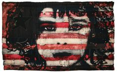 Denim & Coloured stripes (Artwork by Pam Glew 'Afghan Girl' Dye techniques on vintage American , Italian, signal & lraqi flag, linen & denim handmade American flag) American Flag Painting, Medieval, Afghan Girl, Vintage Flag, Flag Art, Textile Art, Fiber Art, Blog, Artist