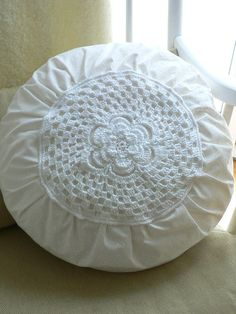 Doily Pillow, Idea for DIY.  White, Chippy, Shabby Chic, Whitewashed, Cottage, French Country, Rustic, Swedish decor Idea. ***Pinned by oldattic ***.