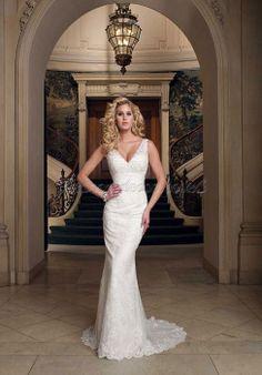 Court Train Lace Ribbon Sheath V-neck Sleeveless Wedding Dress