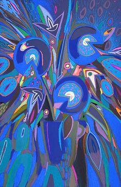 """Tableau """"Fleur d'artifice bleu 2"""" de Vincent Dufour - Pastel sec de 80/110cm [tableau de style figuration libre et nouvelle figuration]"""