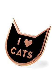 """There is absolutely nothing wrong with being the crazy cat lady or lad. Celebrate your flock of felines with this fabulous pin. Dimensions: Measures 1"""" x 1"""". Details: Copper plated. Rubber backing. Th"""