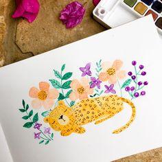Leopard watercolour painting © Gina Maldonado 2017 cocogigidesign.com