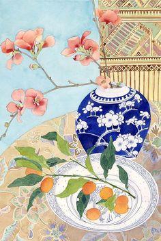 Japonicas and kumquats with Lao weaving watercolour by MangoFrooty, $30.00 Útil para tecelagem de papel, quadros, colagem. Papel japonês