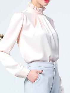 "Camicia BIANCA CON ROUCHES MANICA LUNGA Fit 8/"" Fashion Doll"